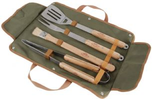 4 Piece BBQ Barbecue Tool Utensil Set in Textile Wrap Holder Mans Gift